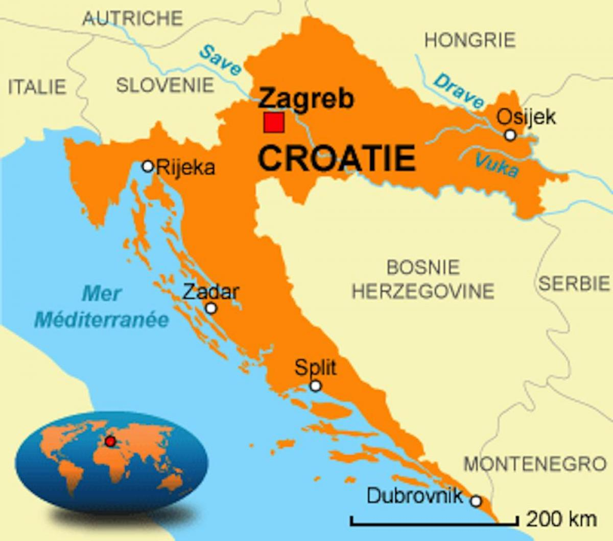 Croatia capital map