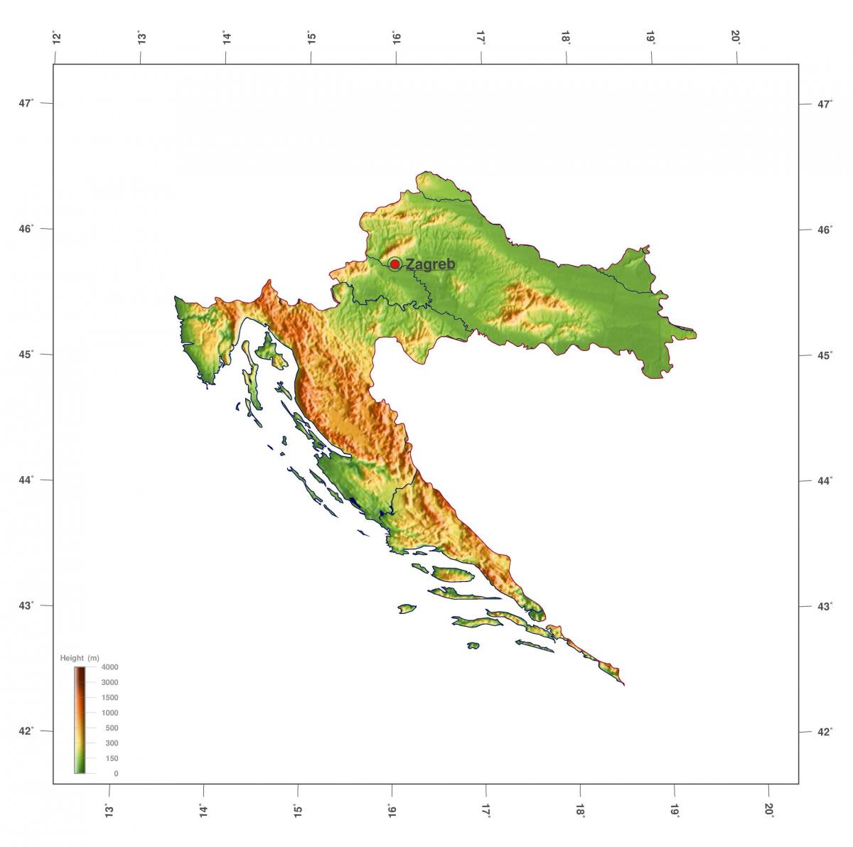 Croatia altitude map