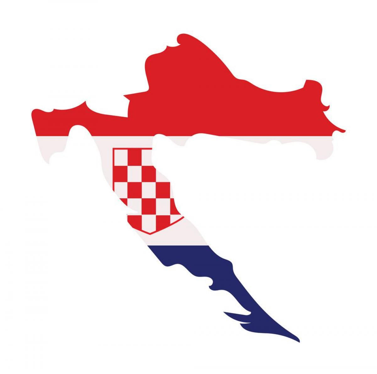 Map of Croatia flag
