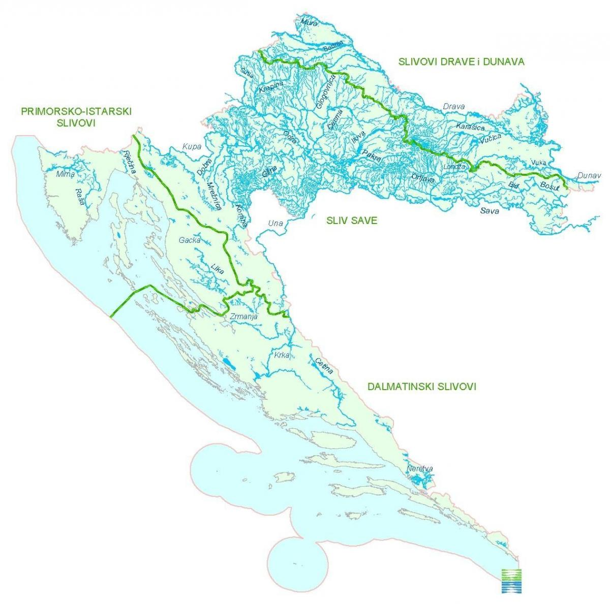 Rivers in Croatia map