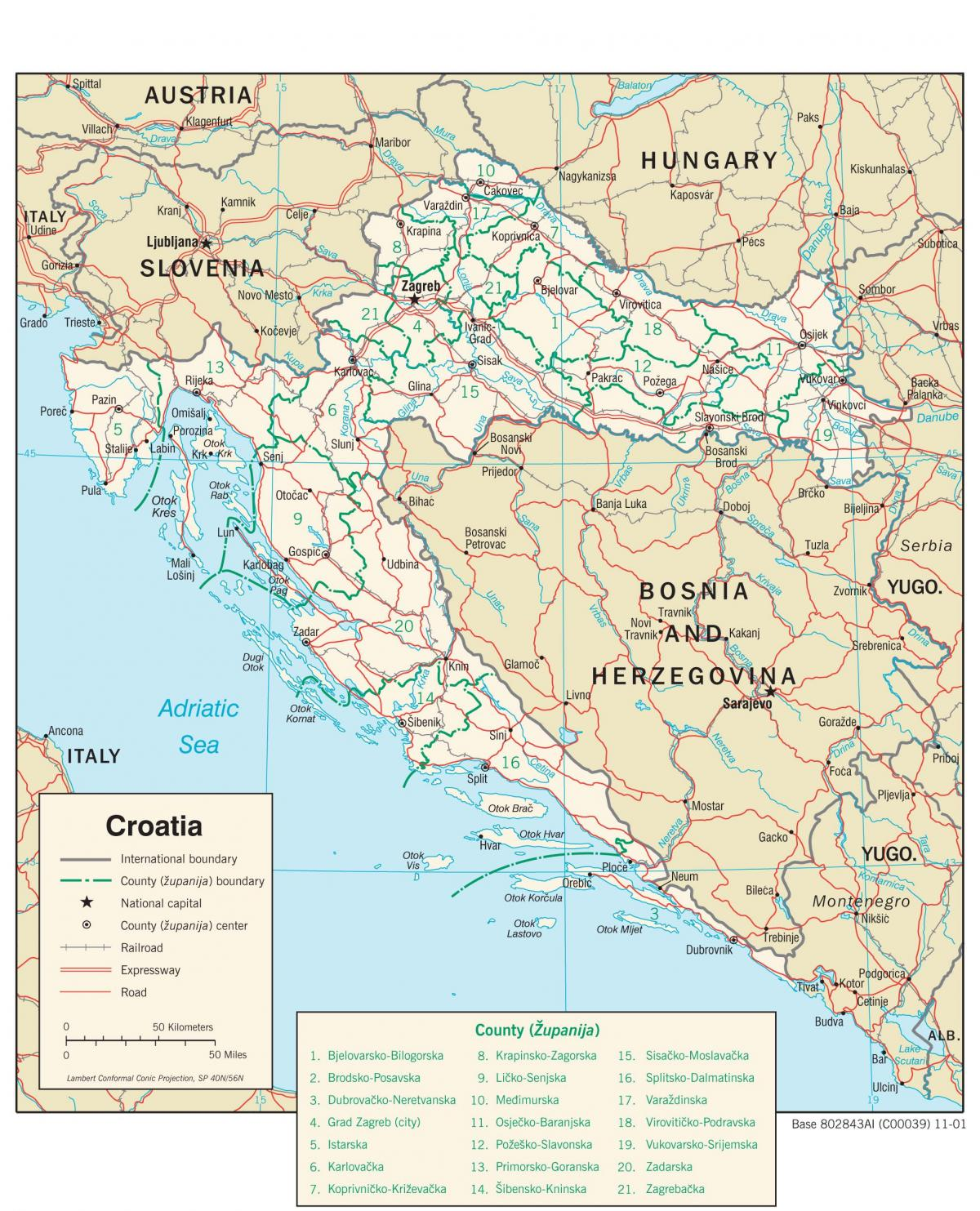 Croatia city map